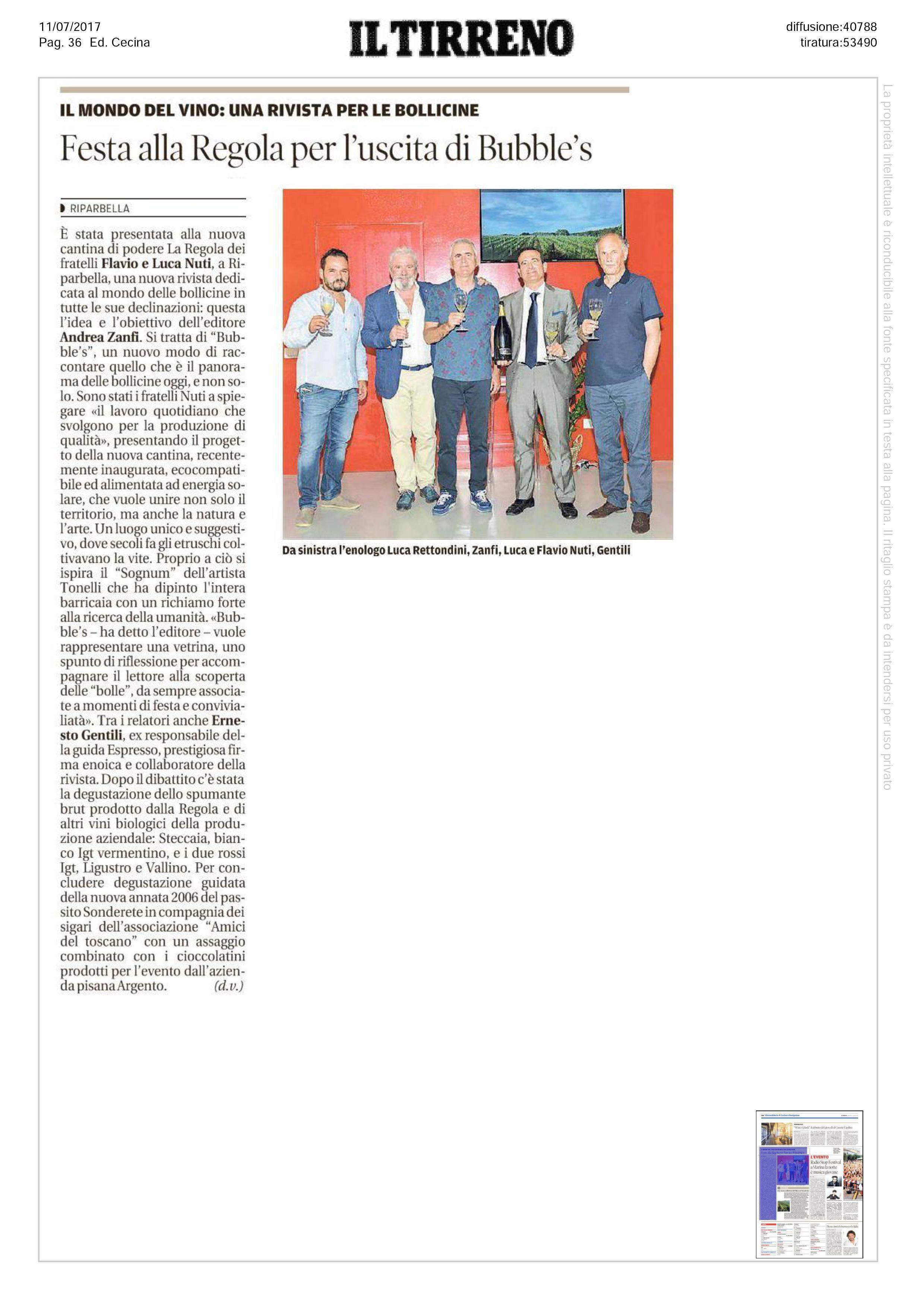 Aticolo de 'Il Tirreno' sulla presentazione di Bubbles Italia presso la cantina della Regola